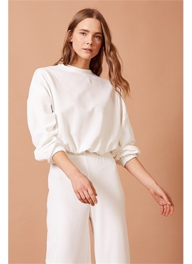 Never More Yüksek Bel Bol Paça Beyaz Pantolon Beyaz